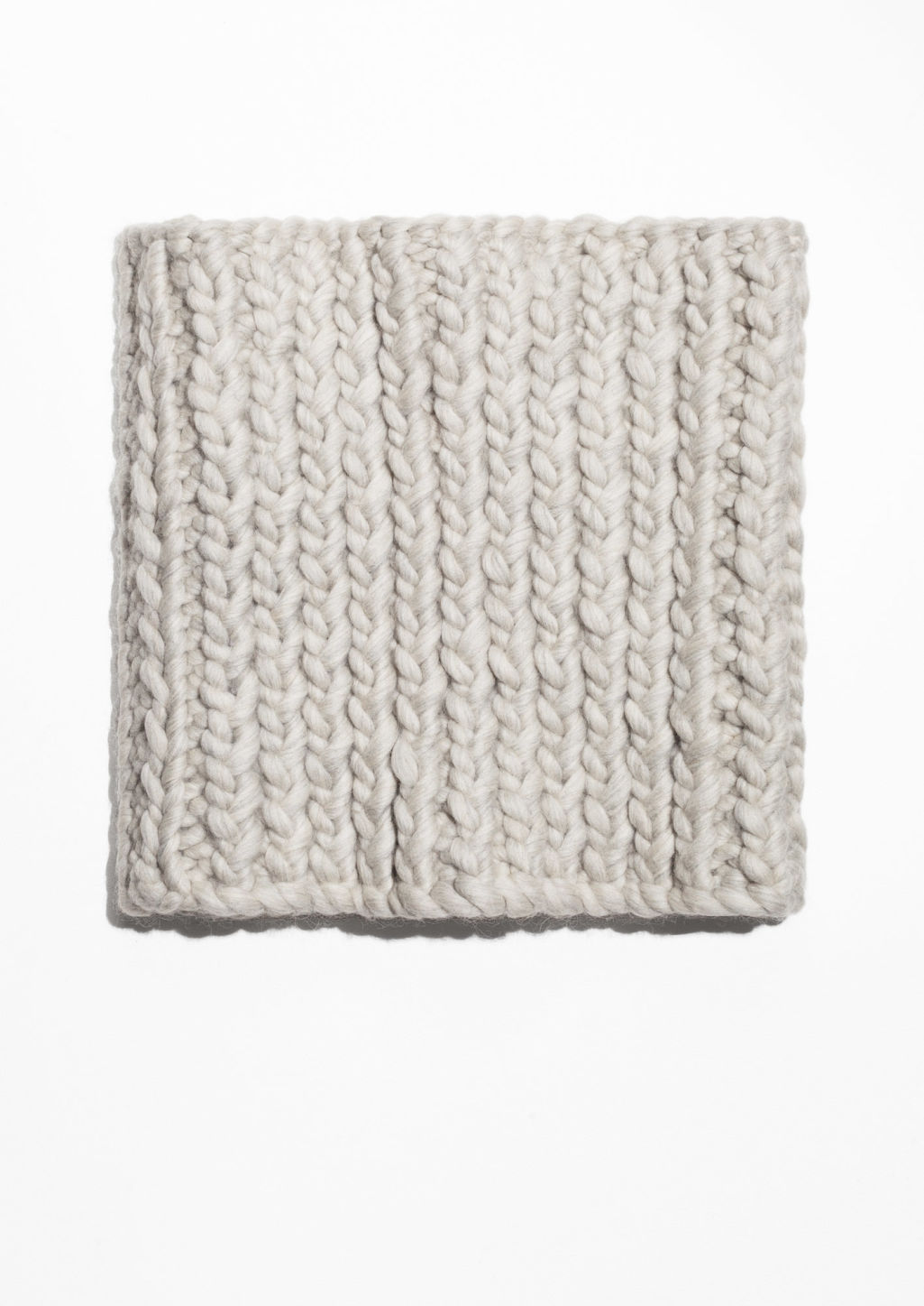Front image of Stories knitted wool snood in white