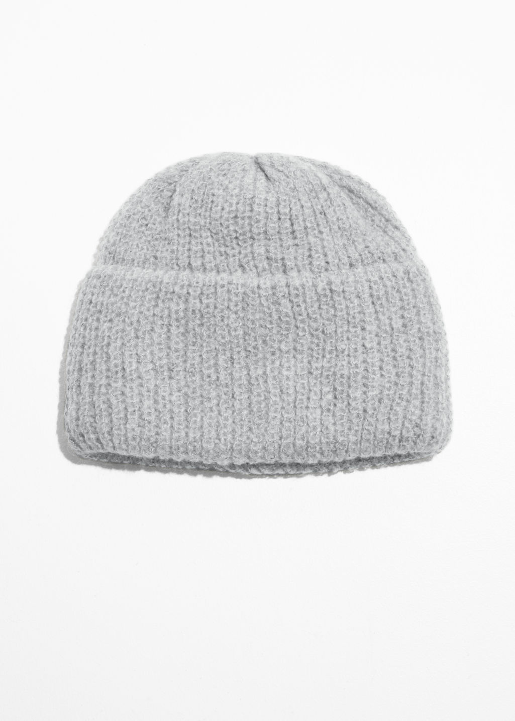 Front image of Stories rib knit beanie  in grey