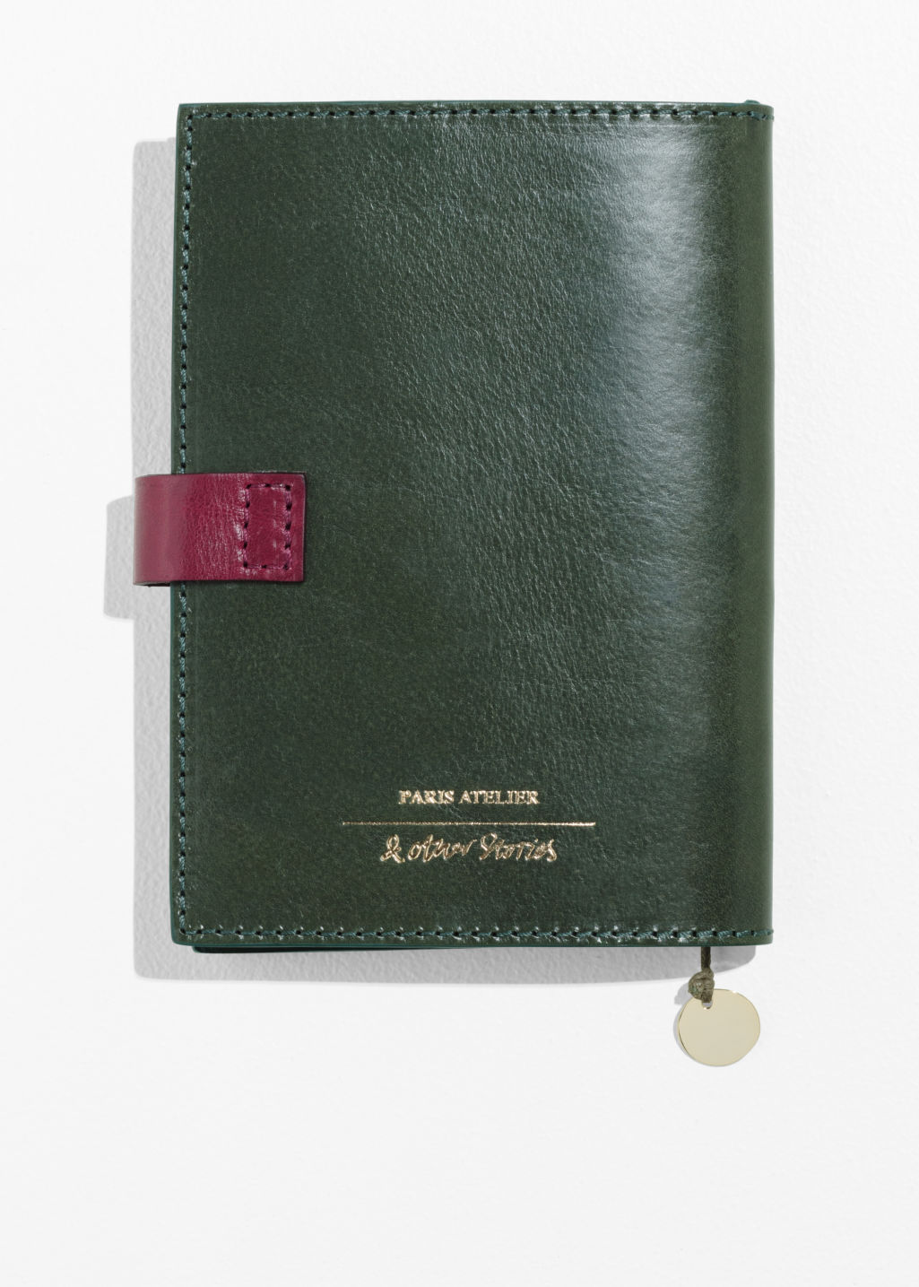 Back image of Stories leather a6 notebook cover in green