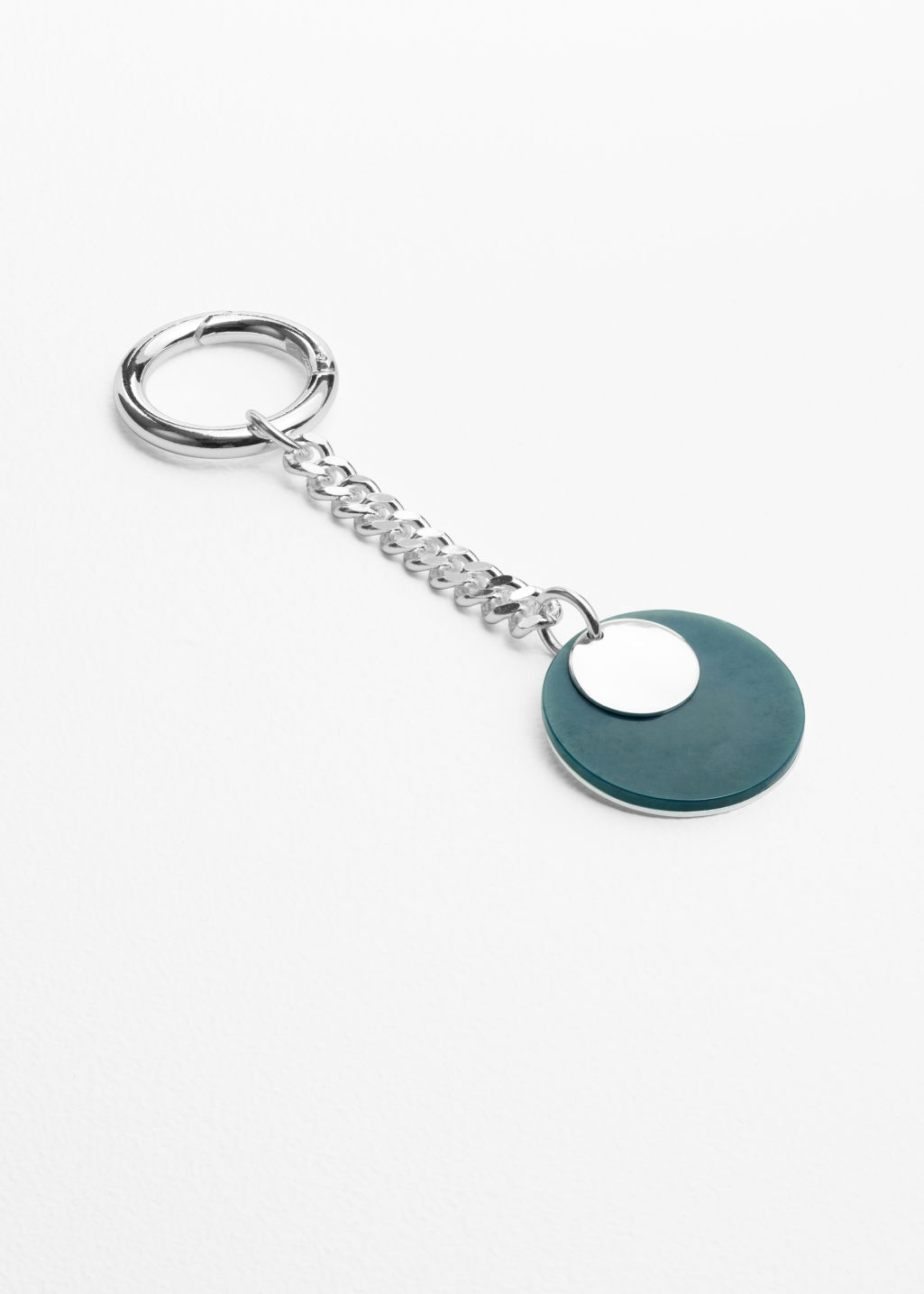 Front image of Stories floating shapes keyring  in silver