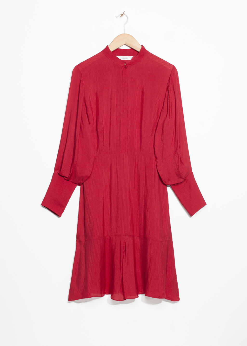 Front image of Stories frill hem dress in red