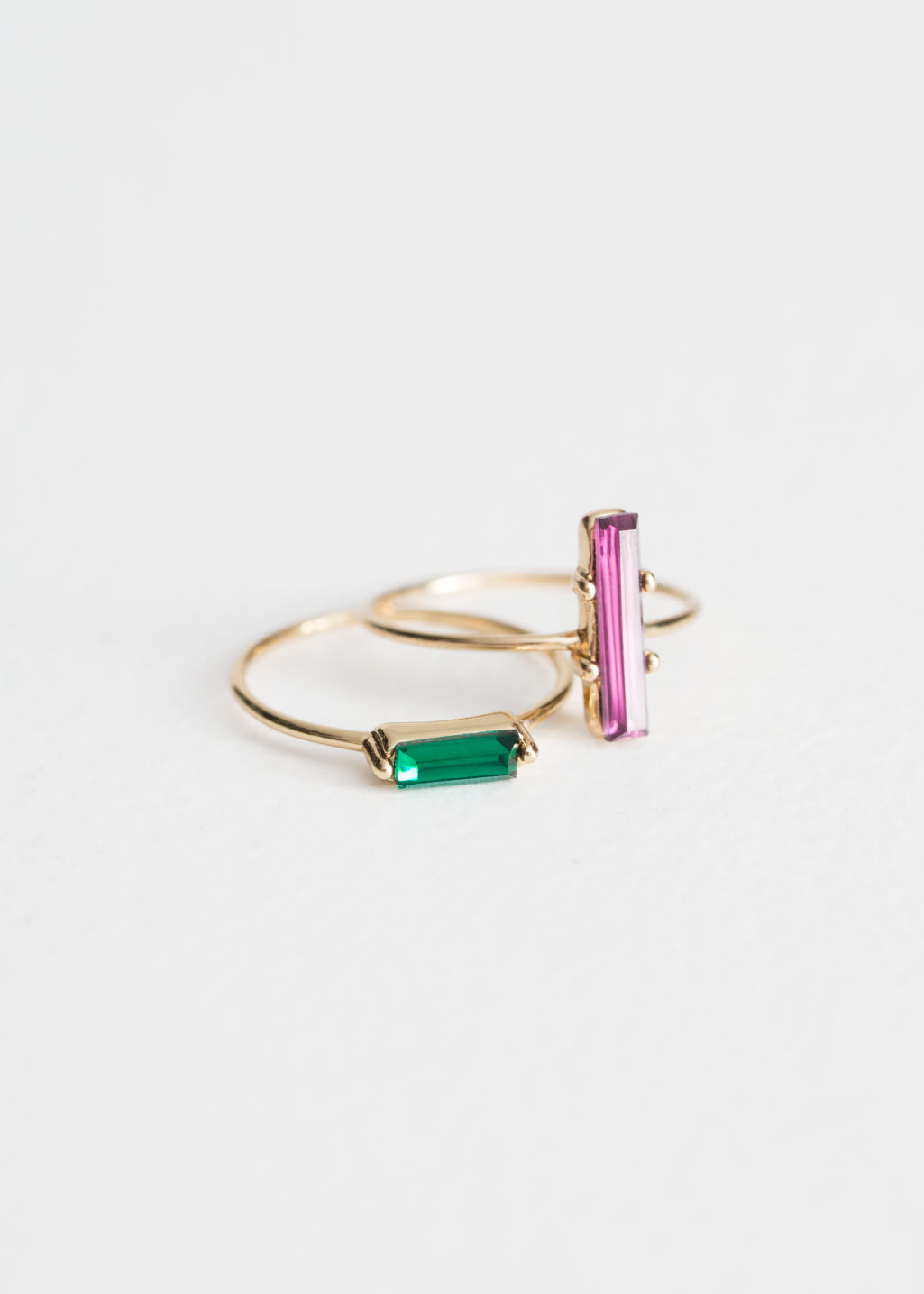 Front image of Stories two-set jewelled rings in green
