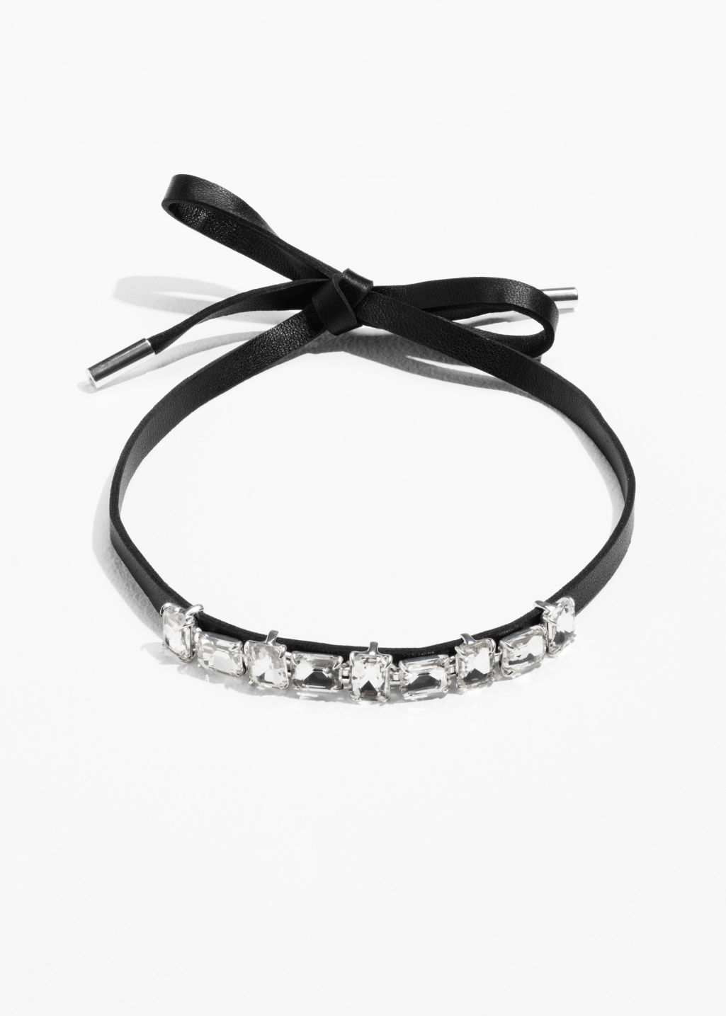 Front image of Stories leather choker with jewels in white