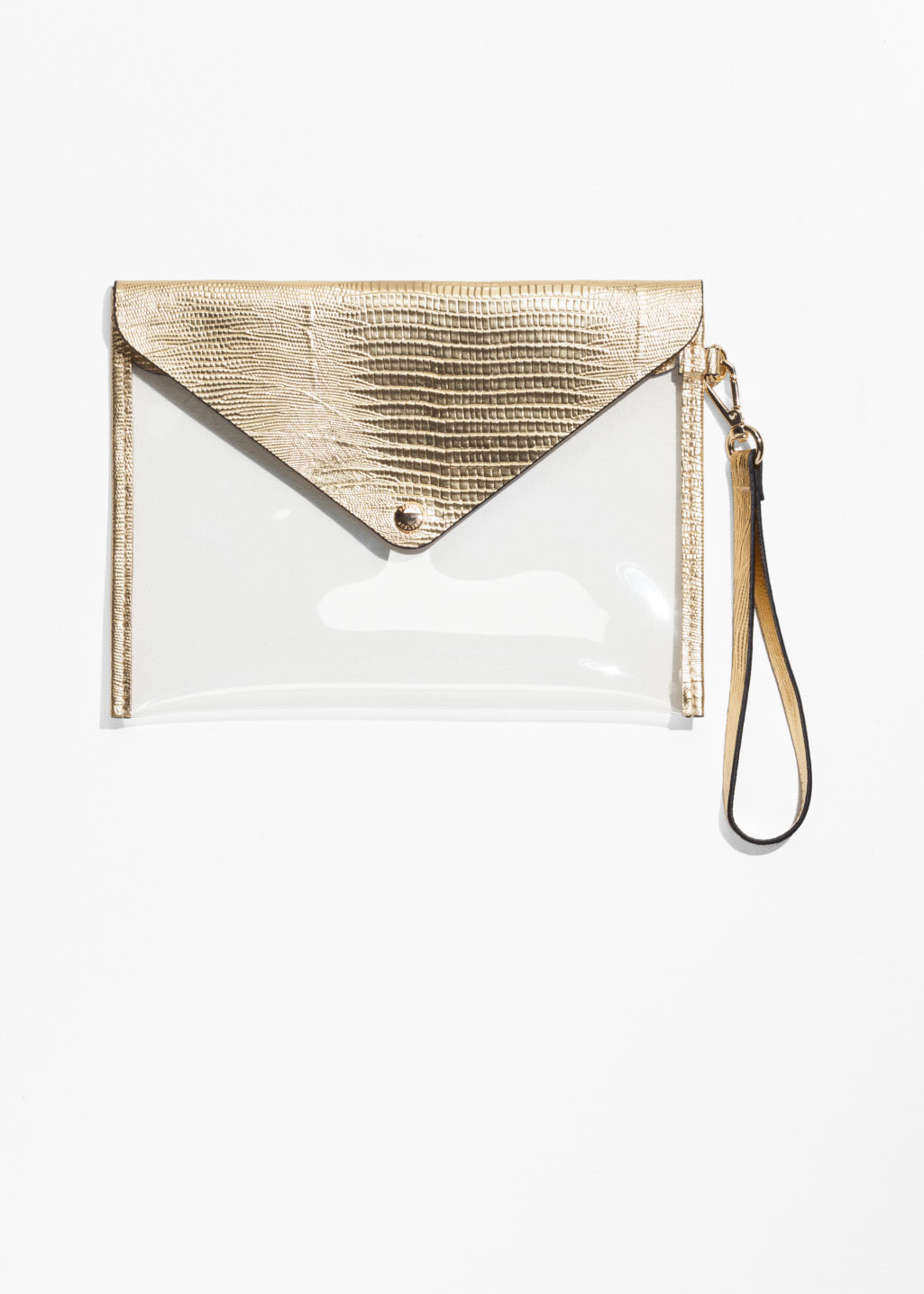 Front image of Stories transparent clutch  in gold