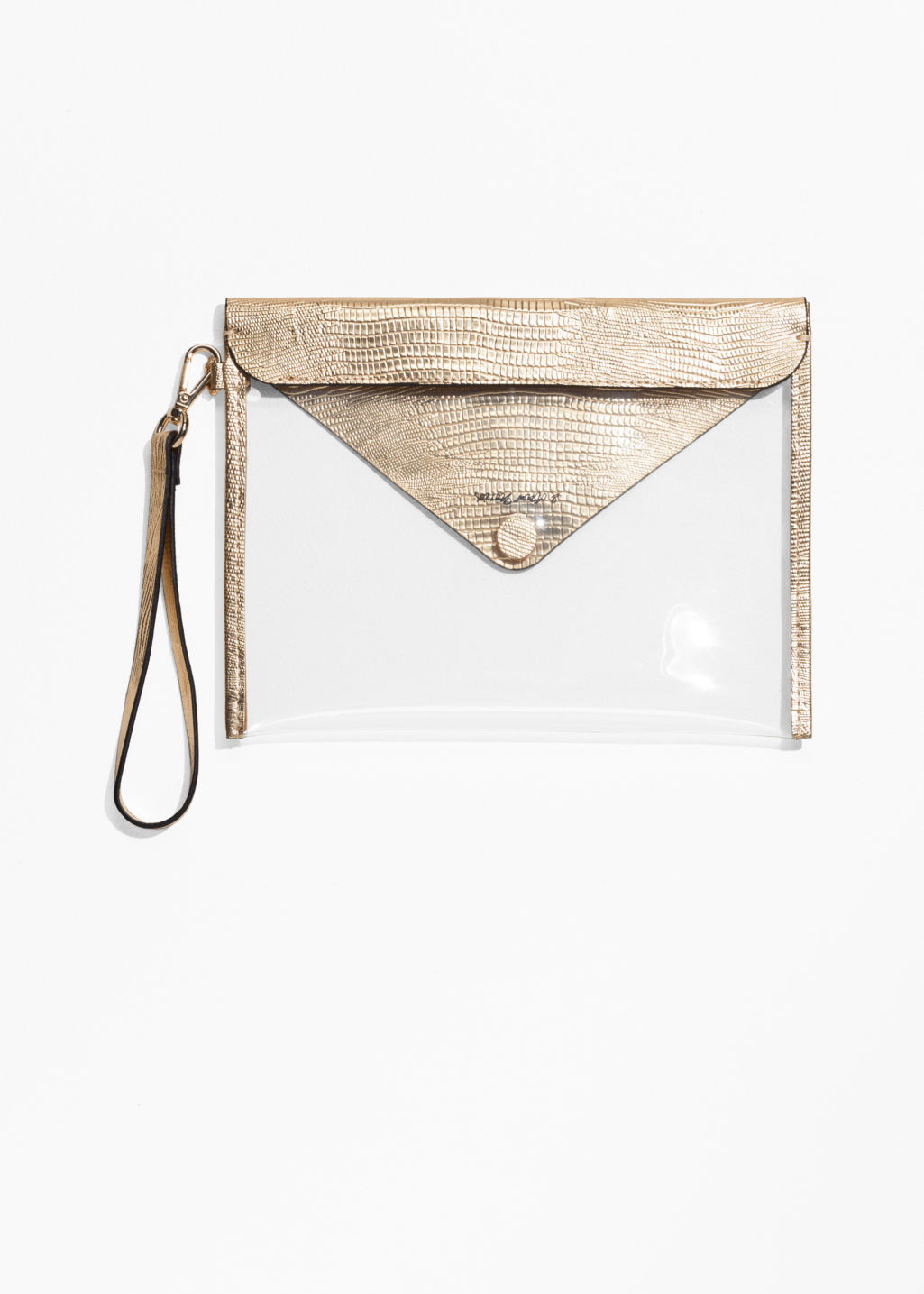 Back image of Stories transparent clutch  in gold