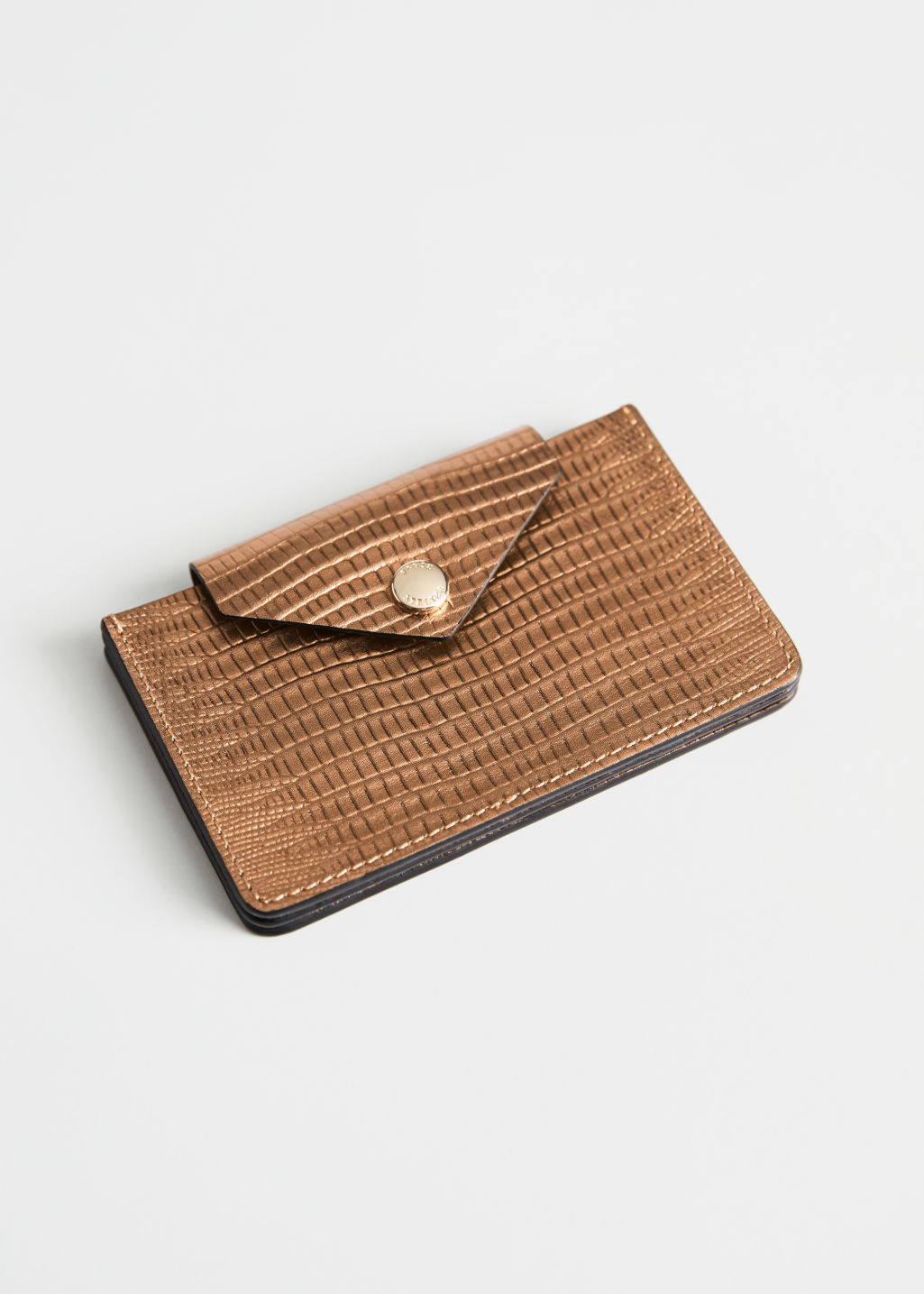 Front image of Stories leather card holder in brown