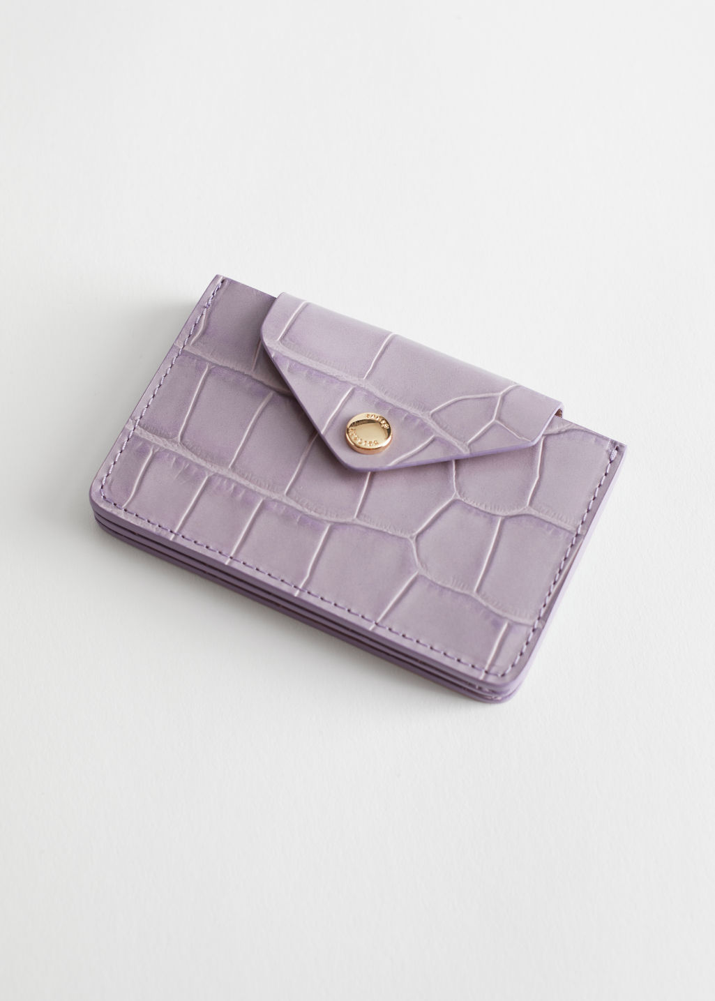 StillLife Front Image of Stories Leather Card Holder in Purple