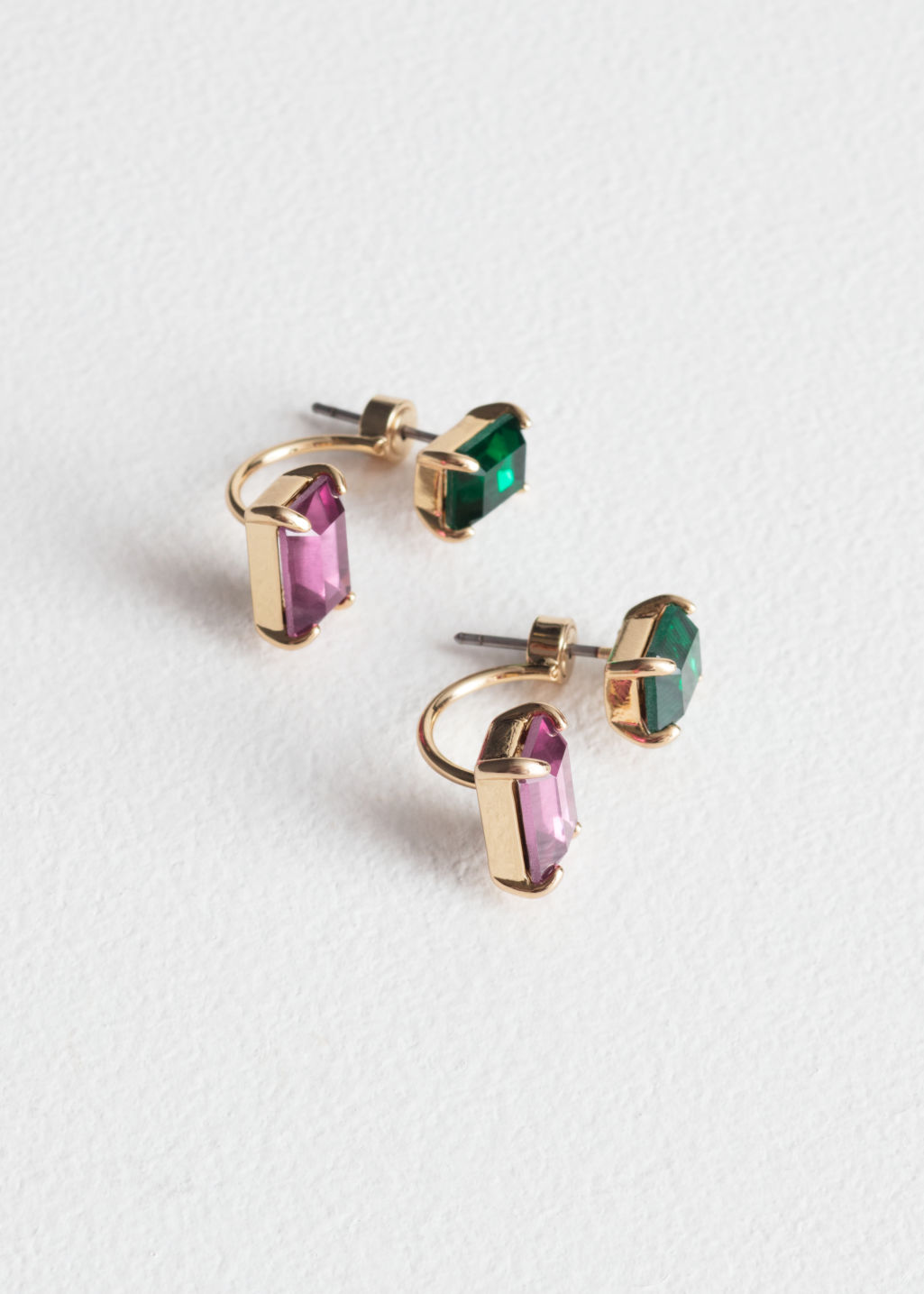 Front image of Stories jeweled front back stud earrings in green