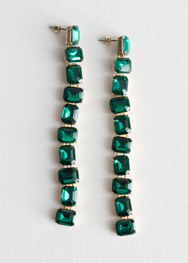 Front image of Stories crystal drop earrings in green