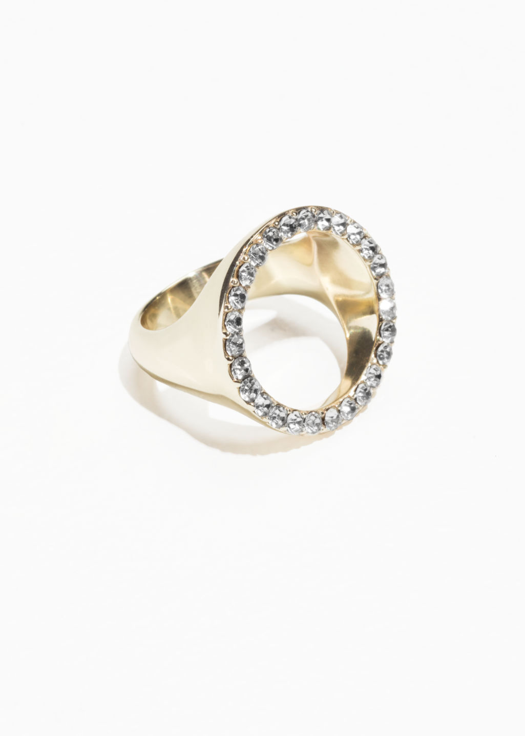 Front image of Stories rhinestone circle ring in white