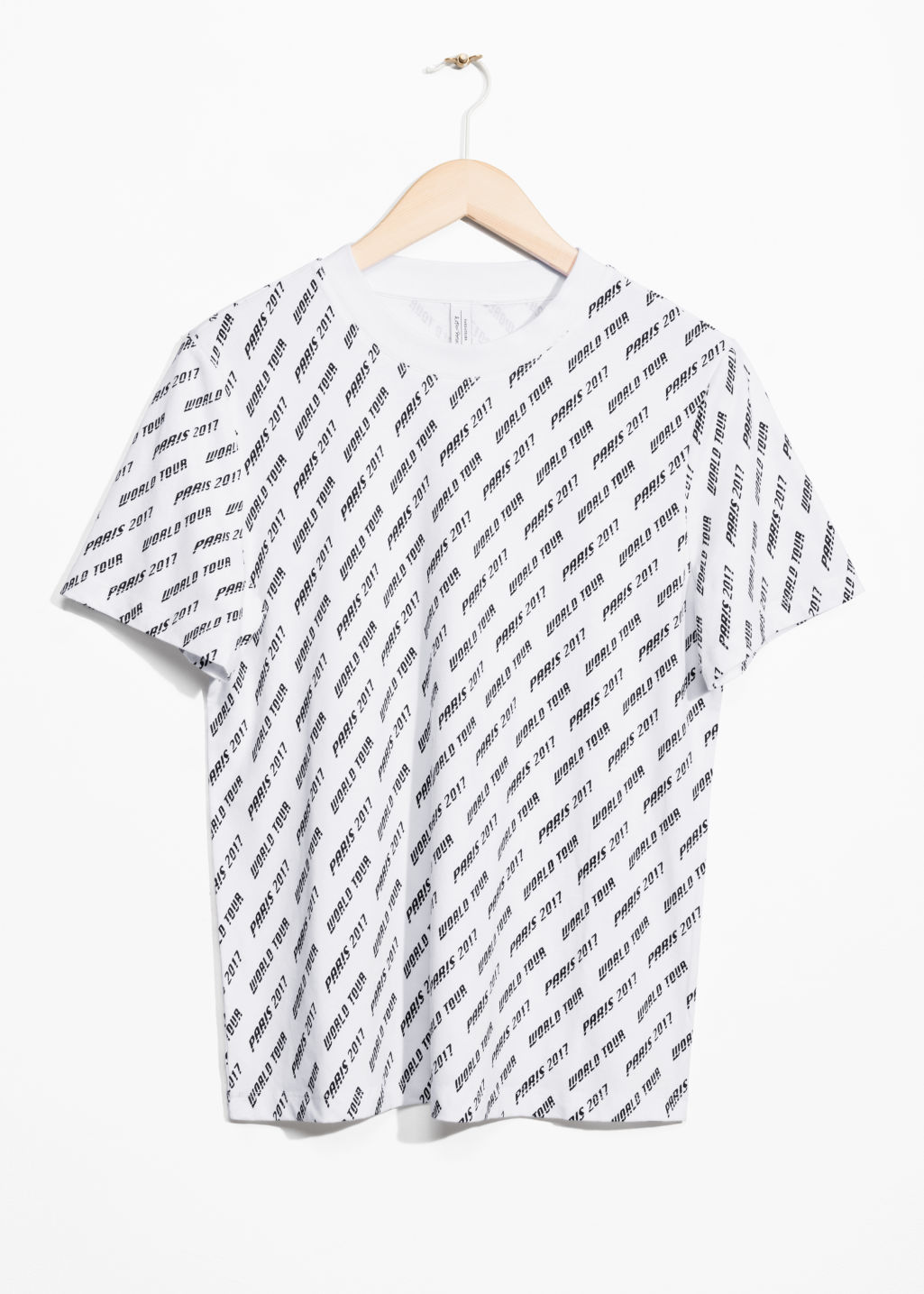 Front image of Stories paris world tour t-shirt in white