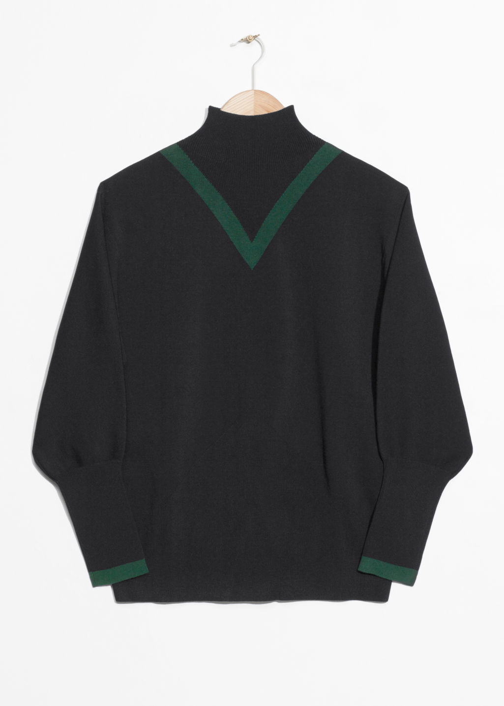 Front image of Stories high neck v-knit sweater in black