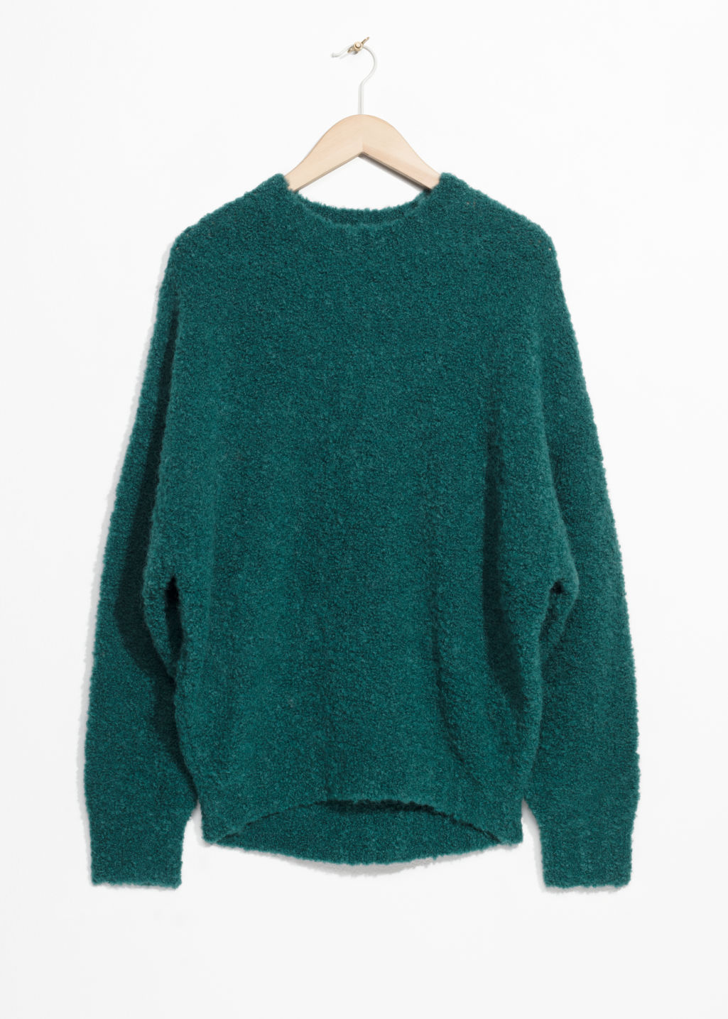 Front image of Stories alpaca blend jumper in turquoise