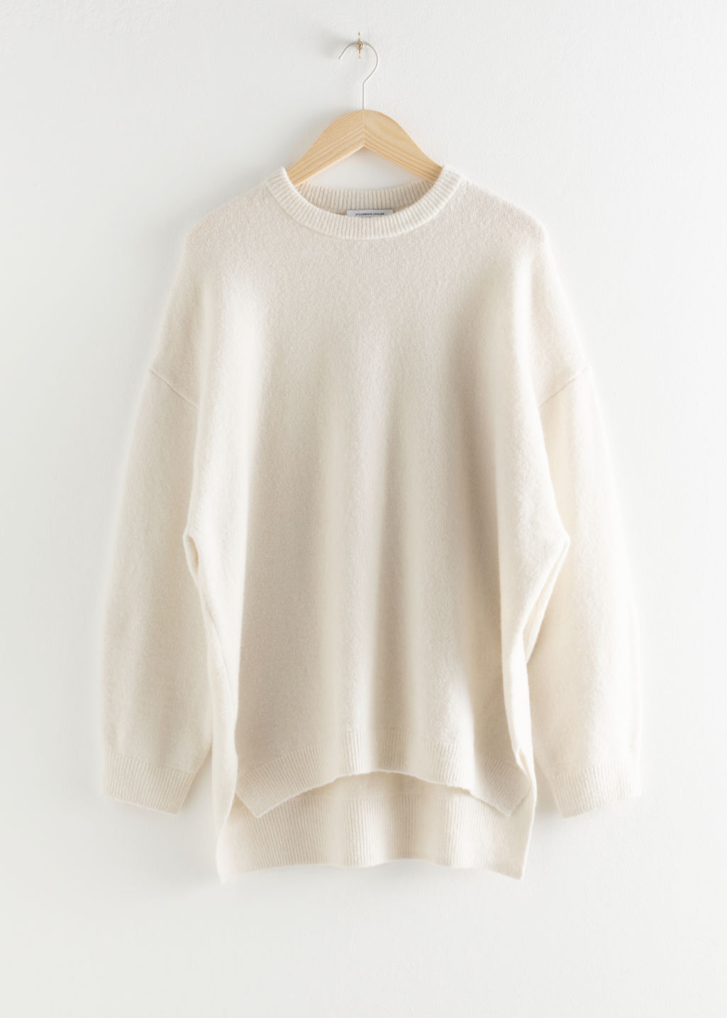 StillLife Front Image of Stories Oversized Wool Blend Sweater in Beige