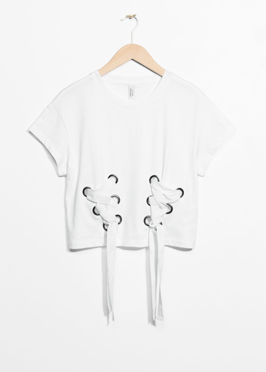 Front image of Stories lace-up detail top in white