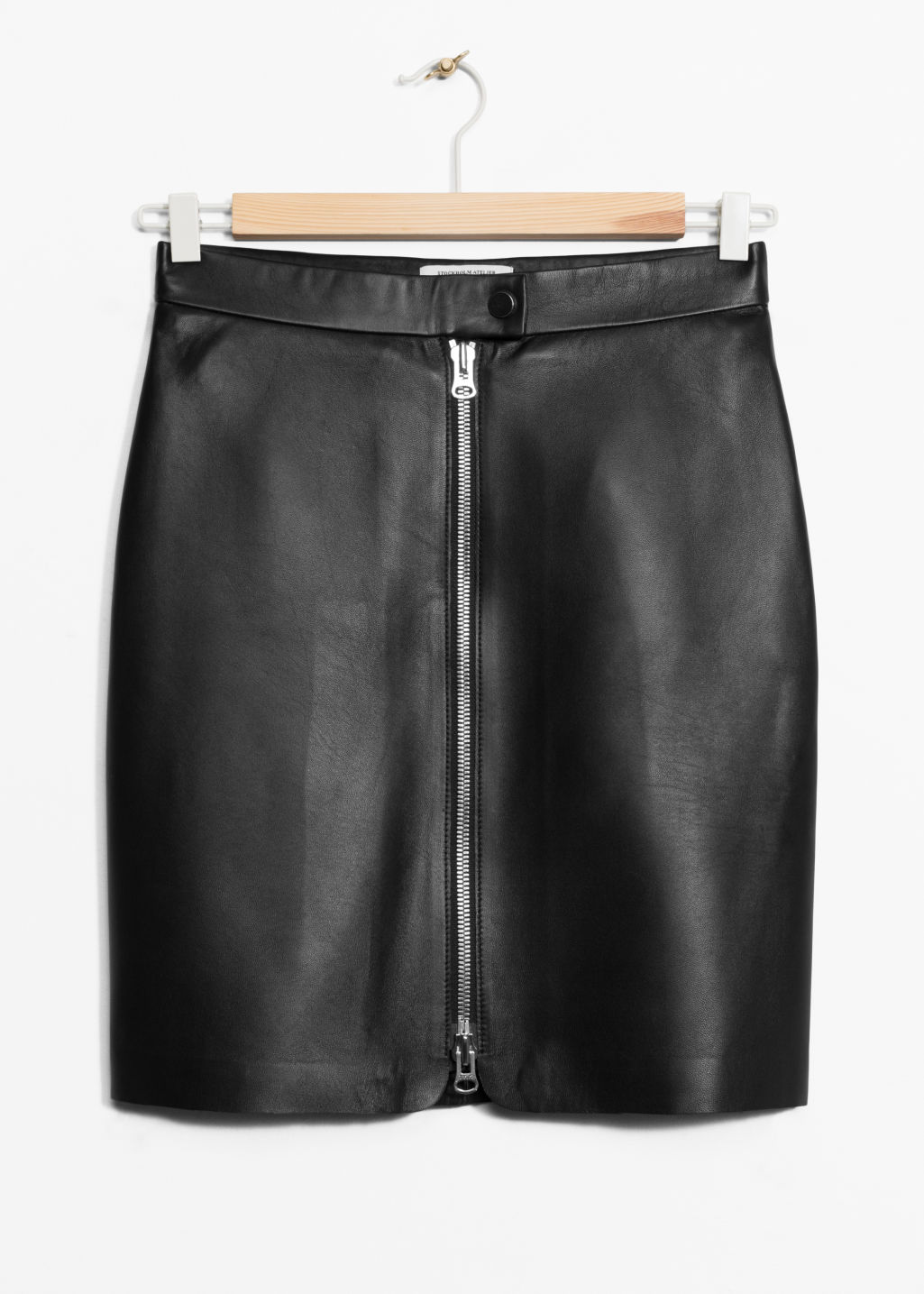 Front image of Stories leather skirt in black