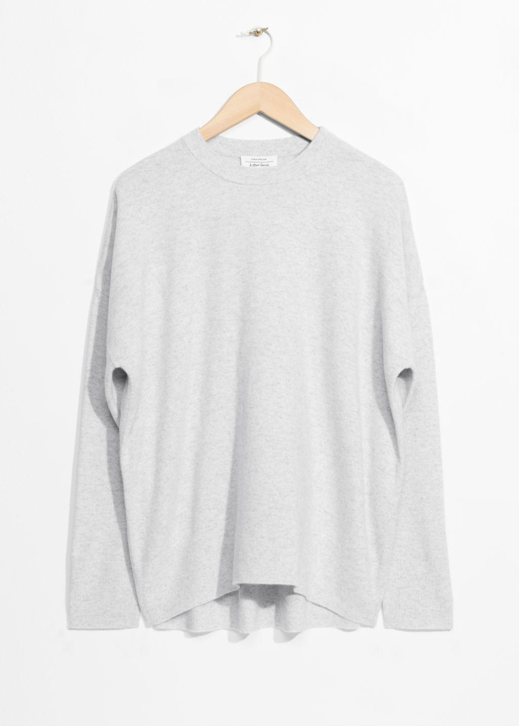 Front image of Stories cashmere sweater in grey