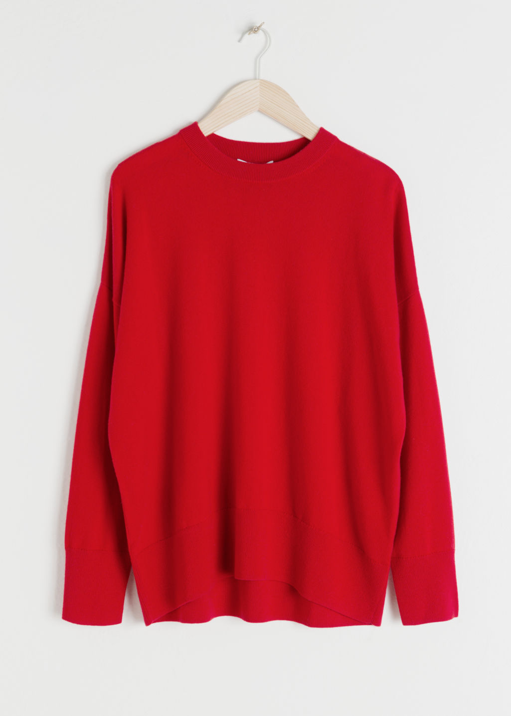 Front image of Stories cashmere sweater in red