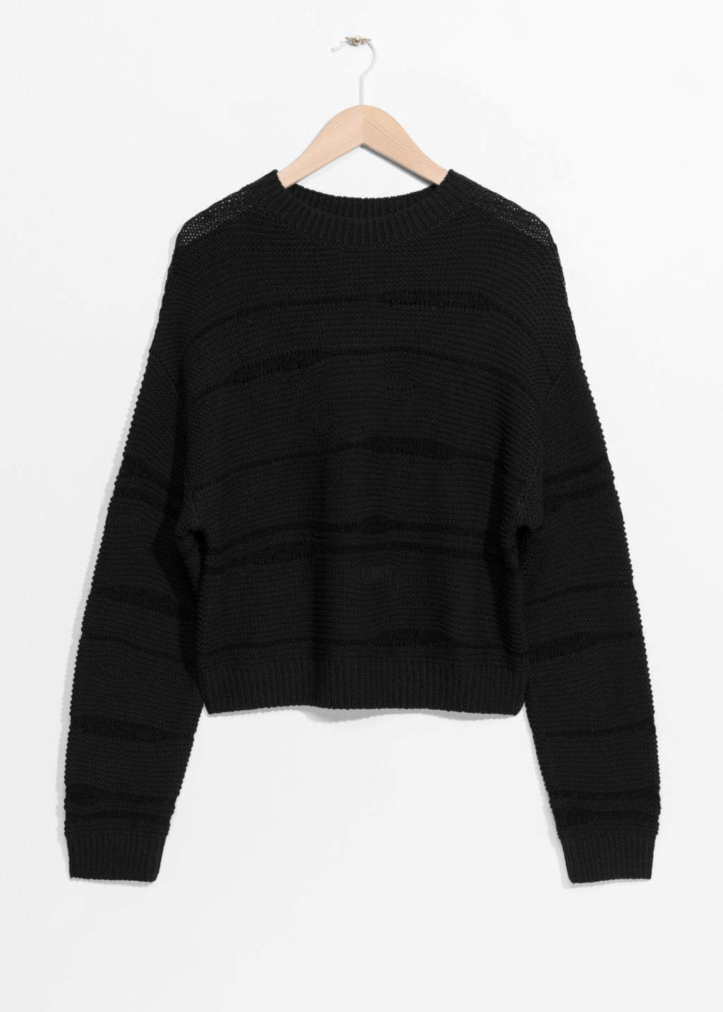 Front image of Stories mohair mix jumper in black