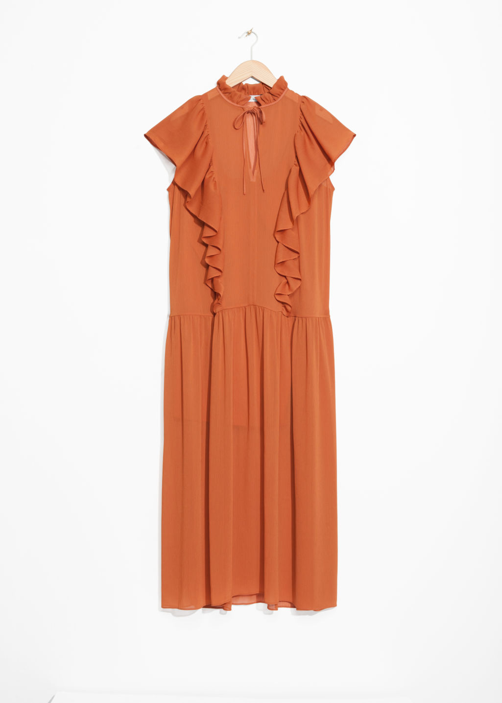 Front image of Stories oversized frill dress in orange