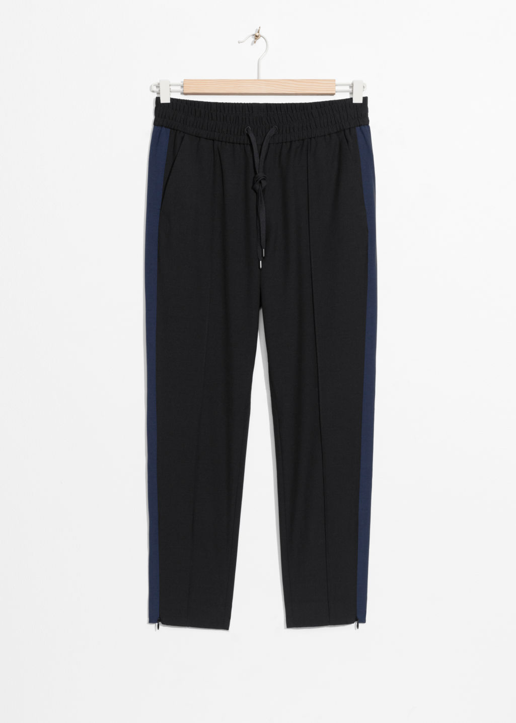 Front image of Stories side panel trousers in black