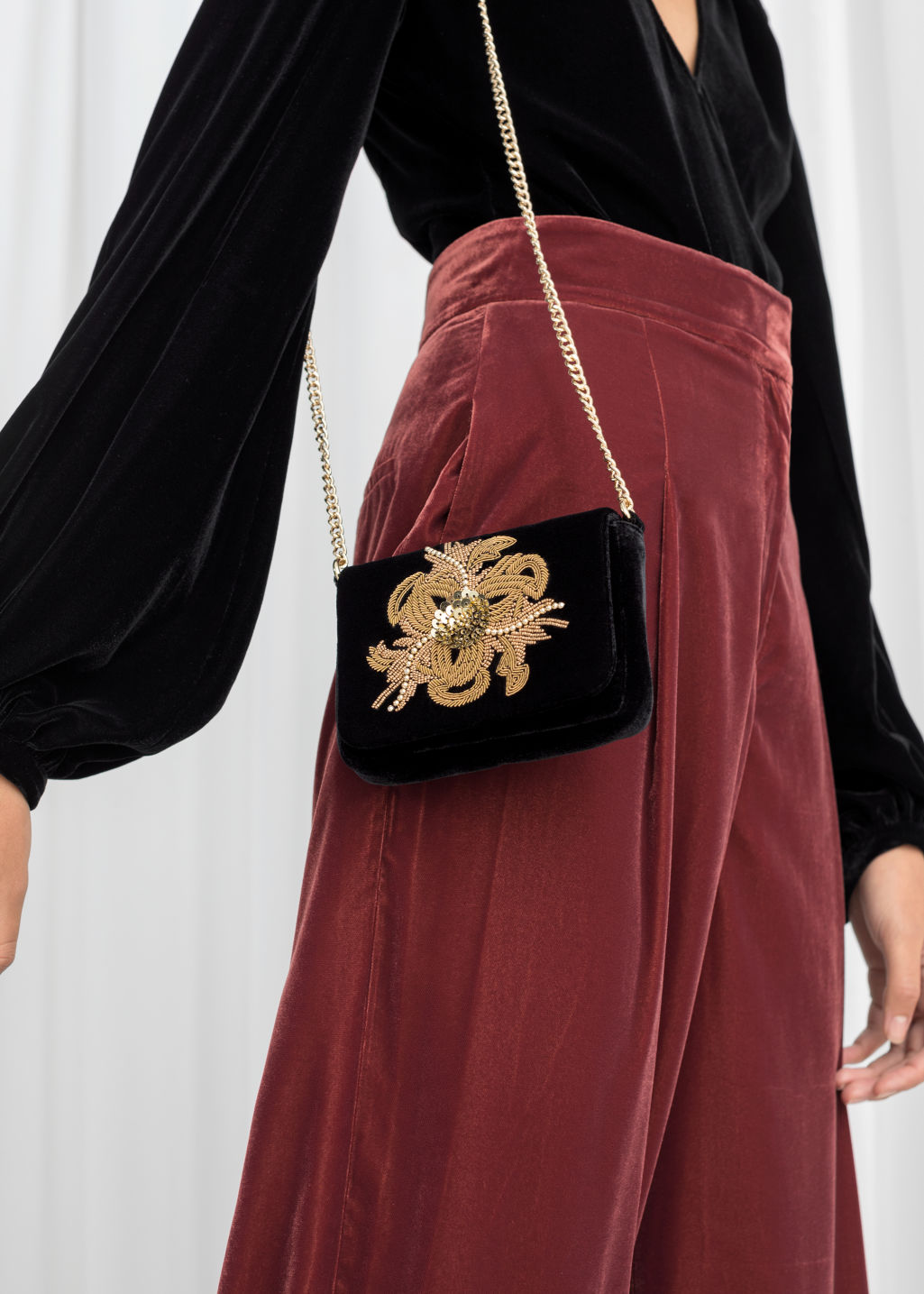 Back image of Stories beaded velvet crossbody bag in black