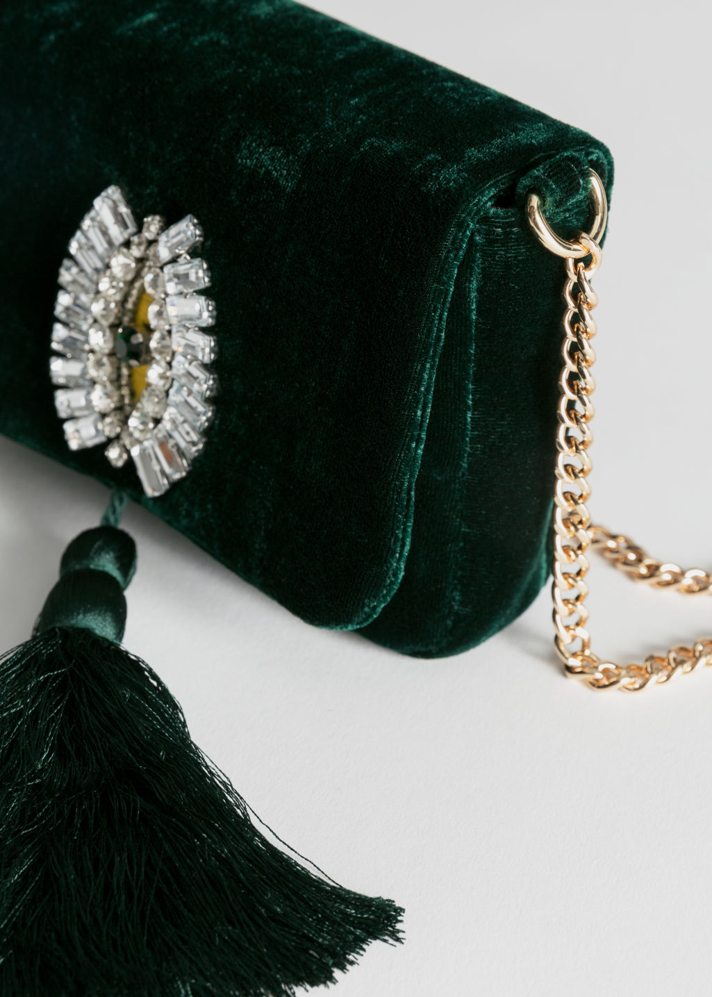 Back image of Stories beaded velvet crossbody bag in green