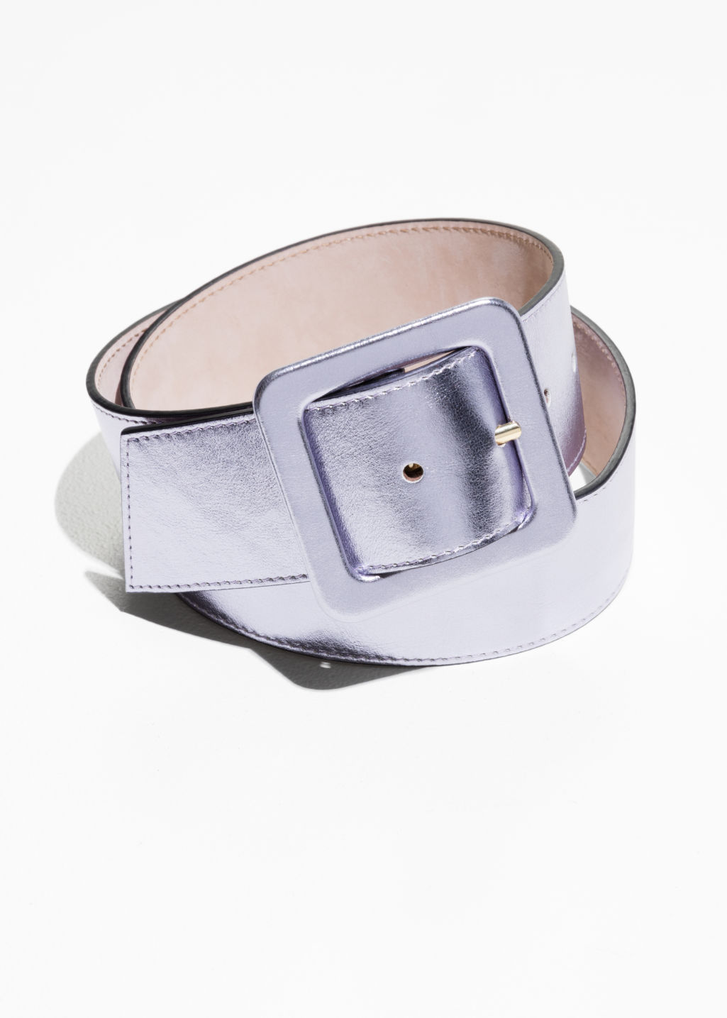 Front image of Stories silver waist belt  in silver