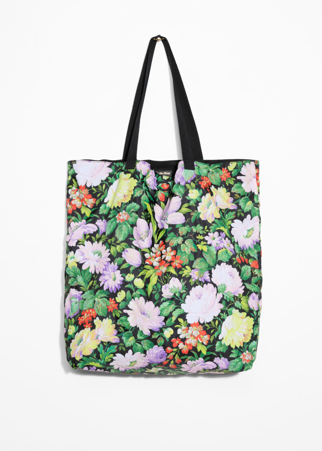 Front image of Stories floral tote in green