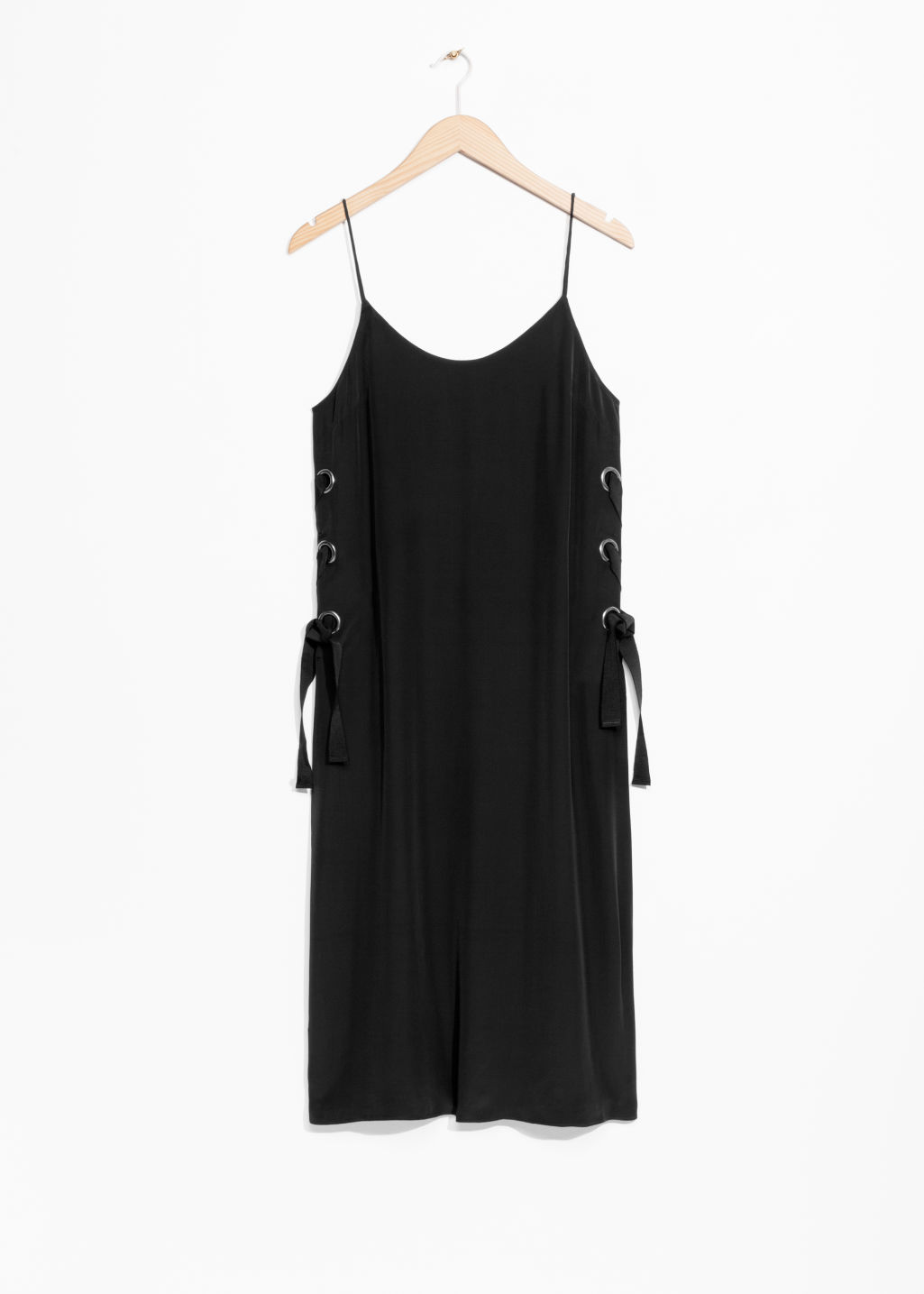 Front image of Stories eyelet lace-up dress in black