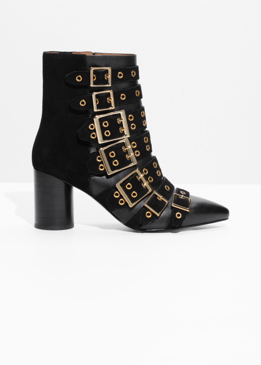 Front image of Stories multi buckle ankle boots in black