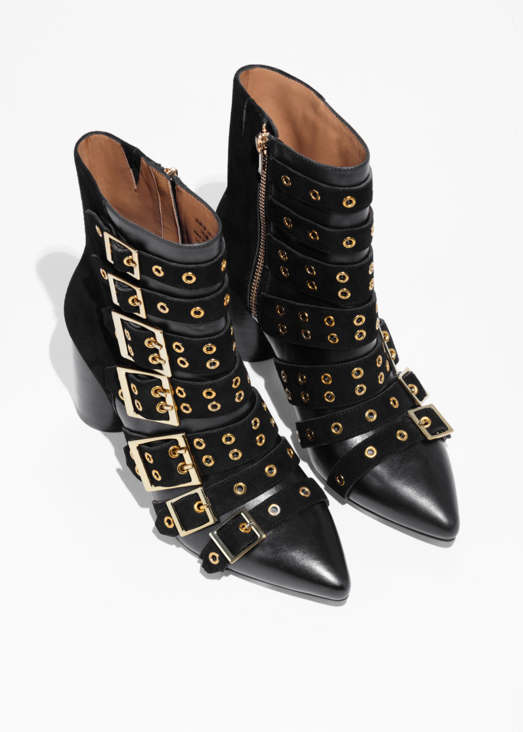 Back image of Stories multi buckle ankle boots in black