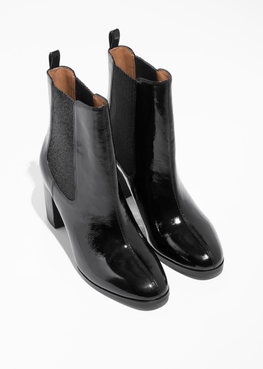 Back image of Stories patent leather chelsea boot  in black