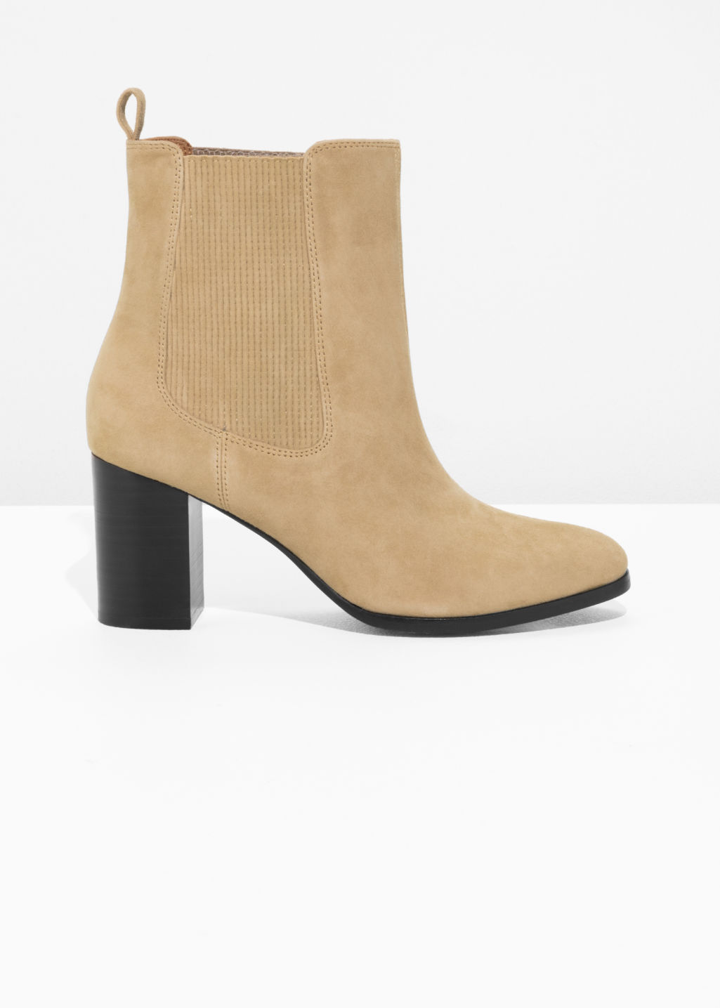 Front image of Stories patent leather chelsea boot  in beige