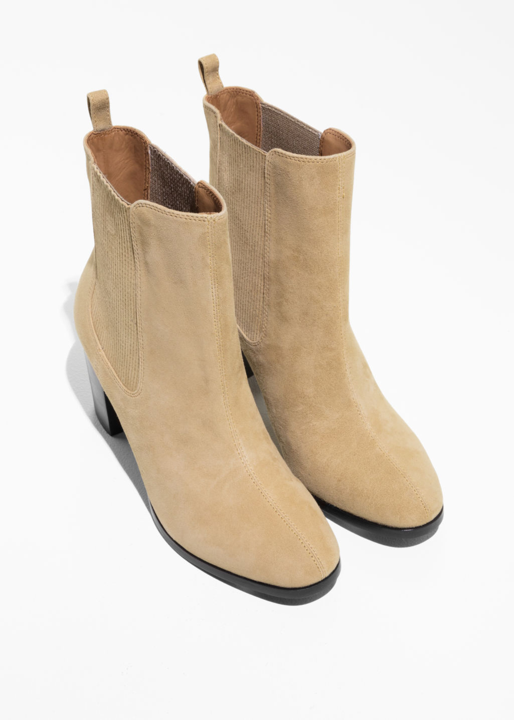 Back image of Stories patent leather chelsea boot  in beige