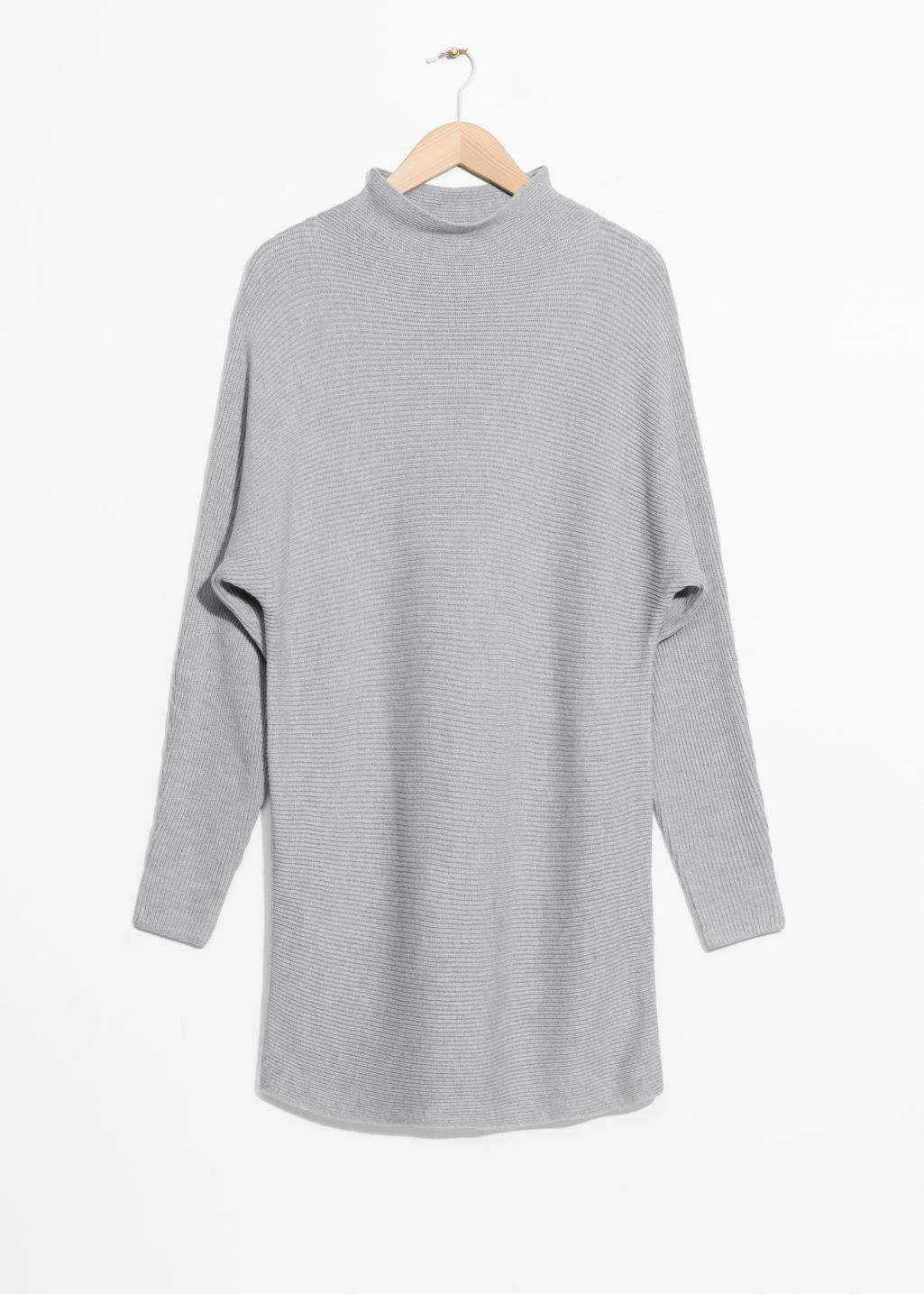 Front image of Stories raised neck sweater dress in grey
