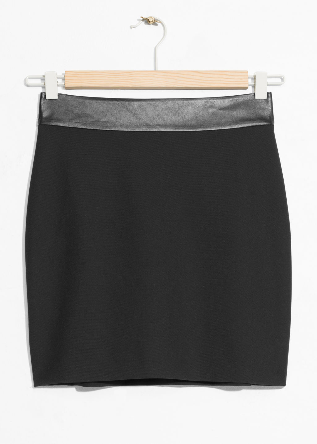 Front image of Stories mini skirt in black