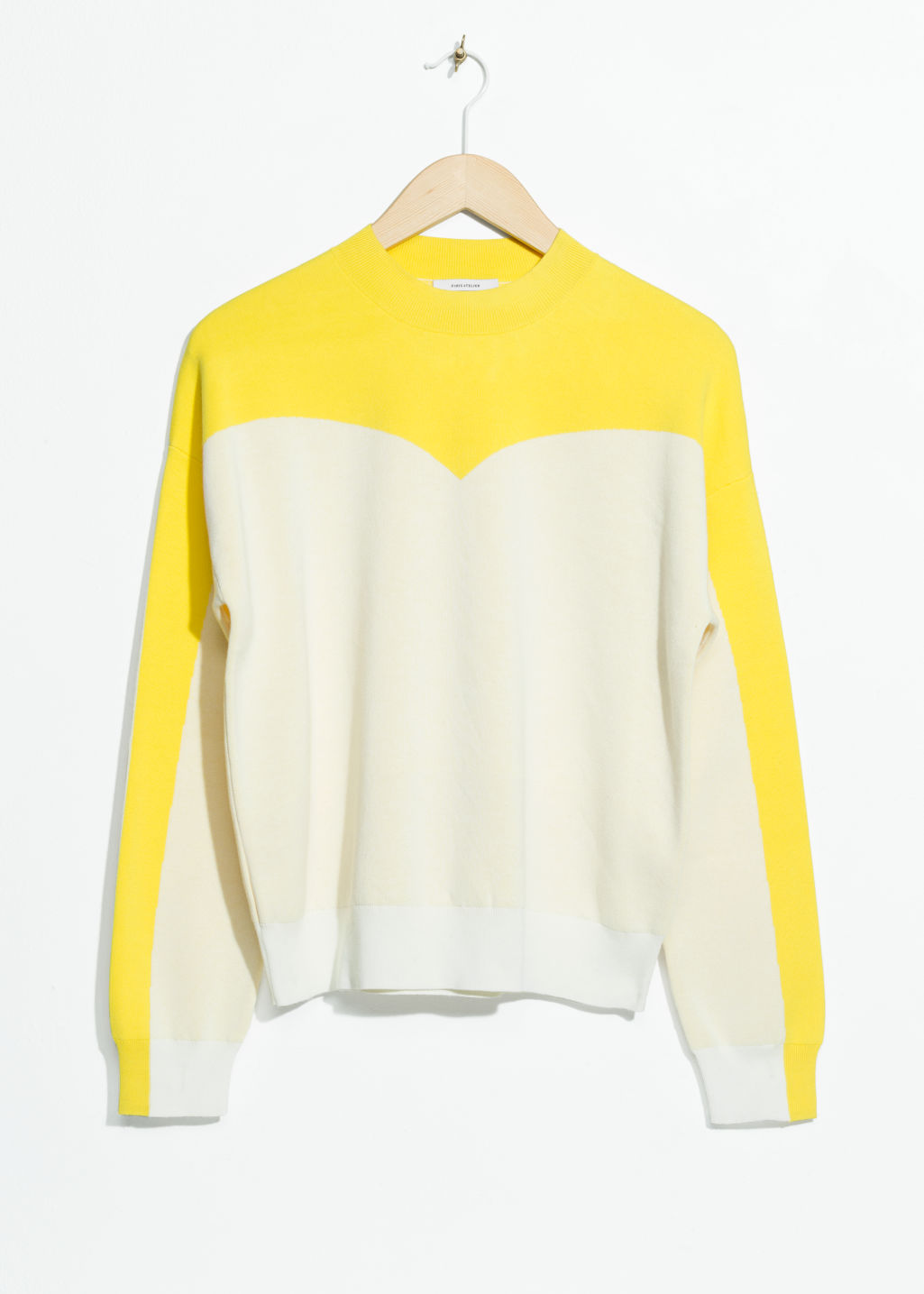 Front image of Stories colour blocking cotton sweater in white