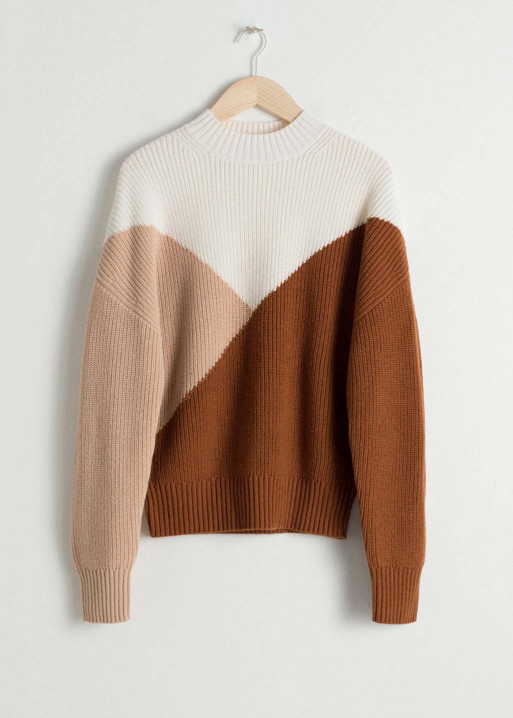 Front image of Stories colour block sweater in beige