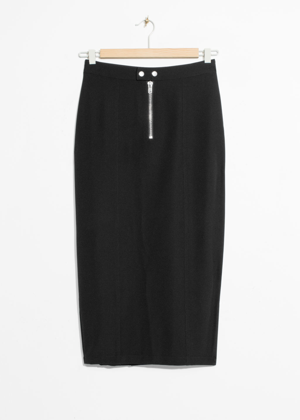 Front image of Stories zip pencil skirt in black