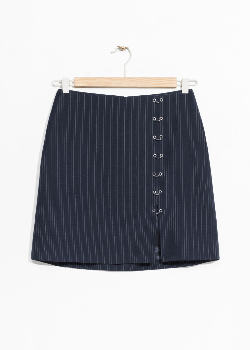Front image of Stories eyelet mini skirt in turquoise