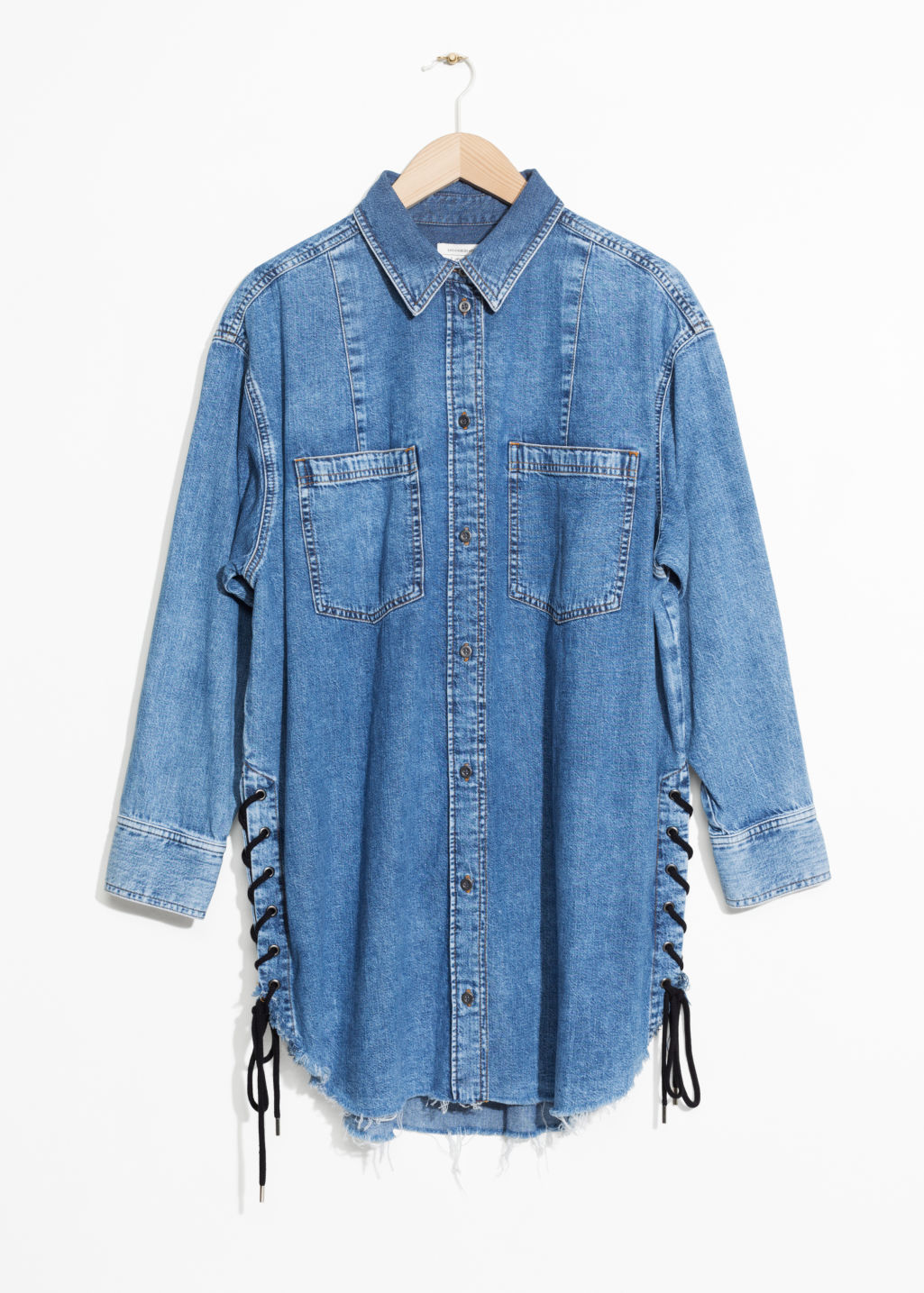 Front image of Stories lace-up denim dress in blue