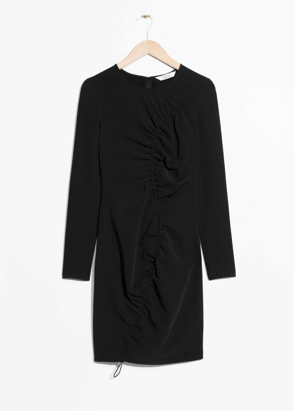 Front image of Stories drape longsleeve dress   in black