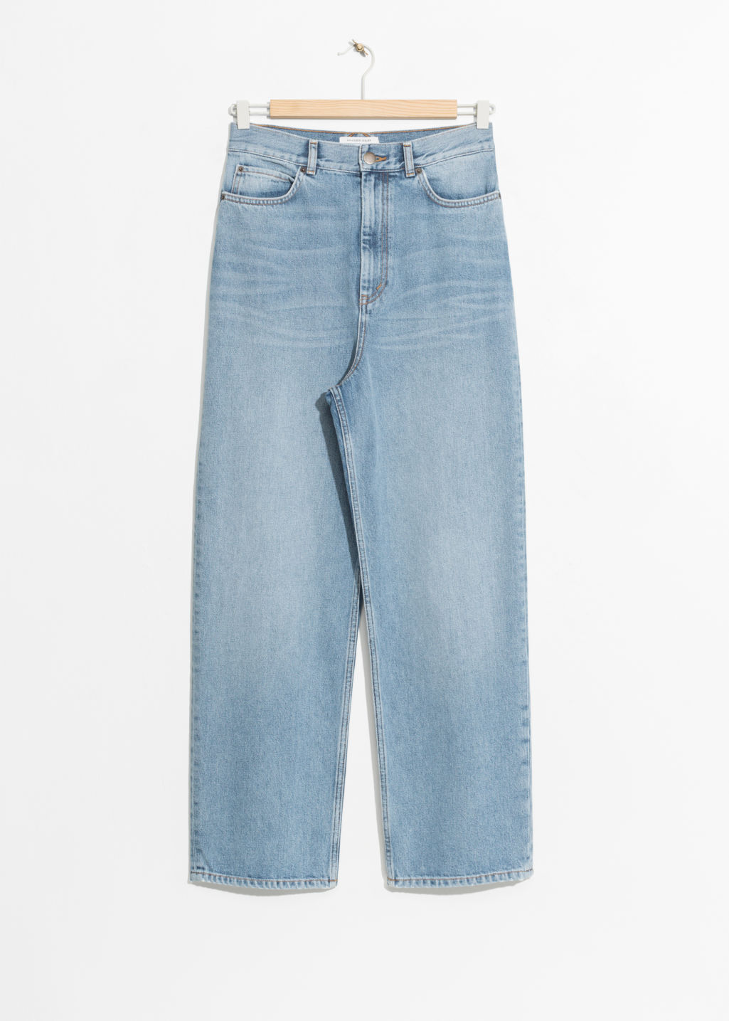 Front image of Stories wide leg denim jeans in blue