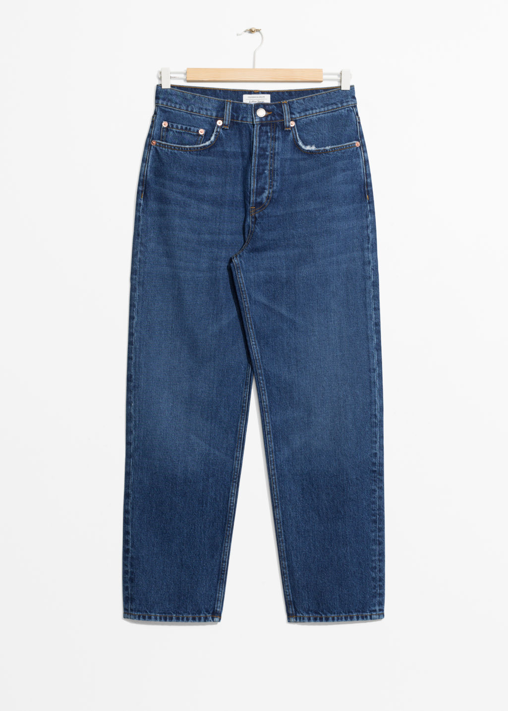 Front image of Stories loose leg denim jeans in blue