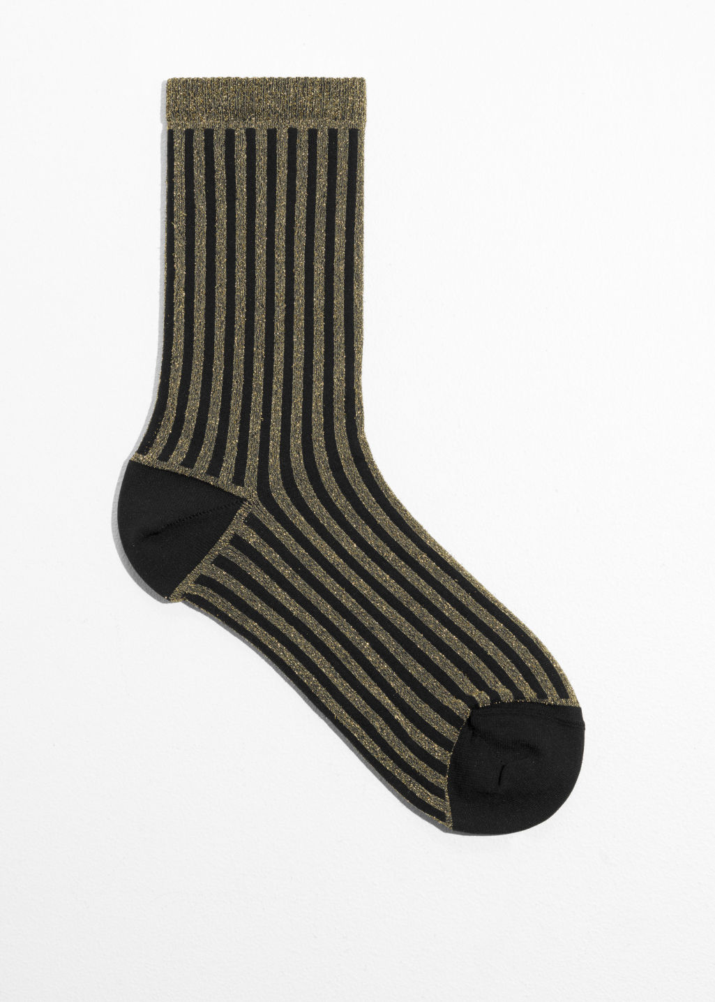 Front image of Stories lurex rib socks in black