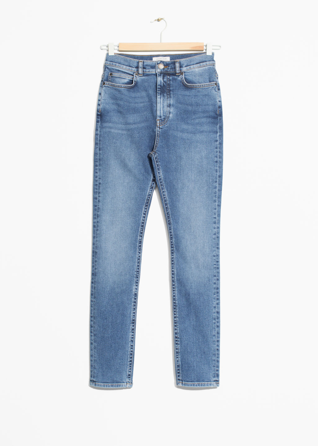 Front image of Stories cropped high-rise jeans in blue