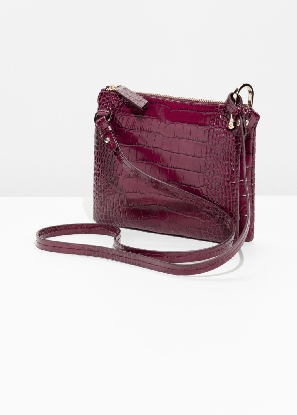 Back image of Stories croco leather shoulder bag in red