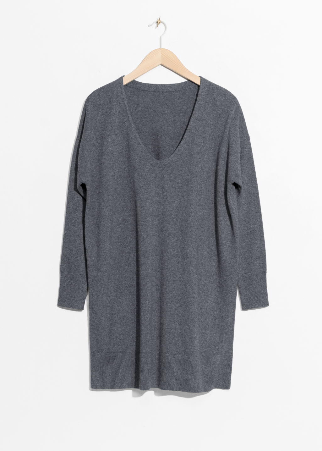 Front image of Stories scooped neck cashmere sweater in grey