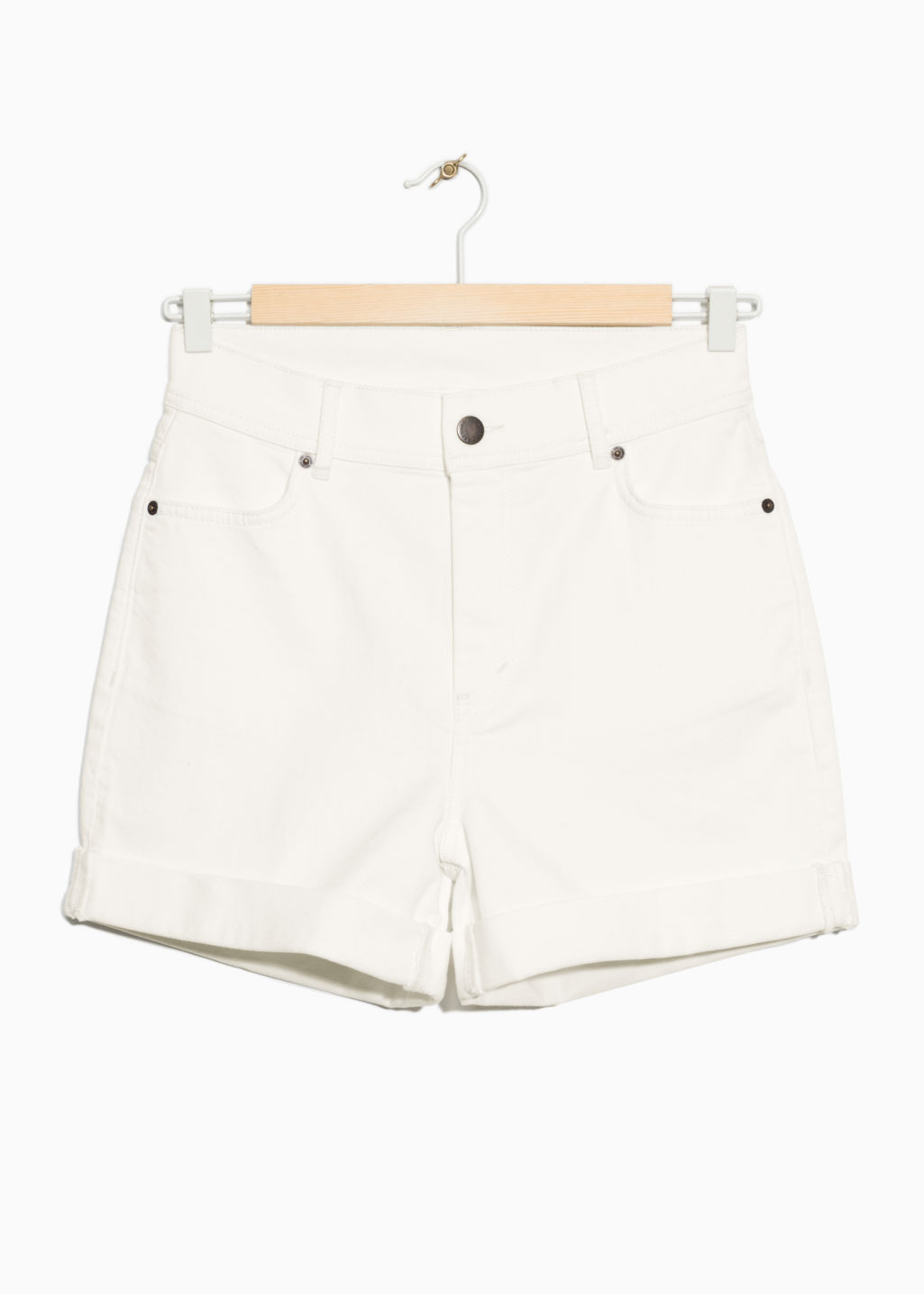 Front image of Stories high waist denim shorts in white